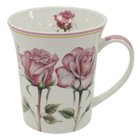 Set of 4 Leonardo Fine China Mugs Gift Boxed Floral Rose Design Mug Set 300ml