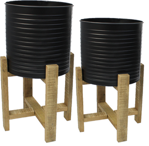 Set of 2 Raised Metal Planters On Stand Black Rippled With Wooden Feet