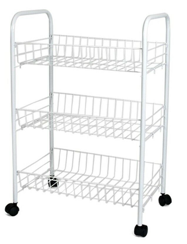 3 Tier Metal Kitchen Vegetable Fruit Storage Trolley White On Wheels