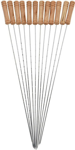 Set of 12 Extra Long BBQ Barbecue Skewers 38cm Metal & Wood Handles