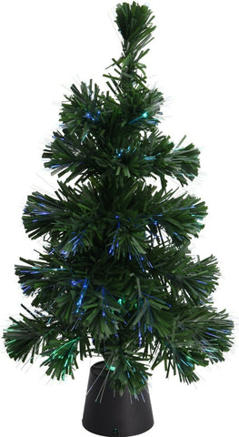 Fiber Optic Led Colour Changing Green Christmas Tree 45cm Table Top Battery Oper