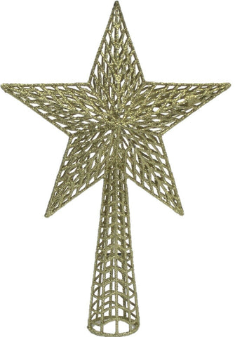 Gold Star Tree Topper Extra Large Christmas Decoration Gold Glitter 36cm Tall