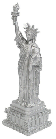 30cm Tall Statue Of Liberty Monument Resin Silver Ornament Mantelpiece Display