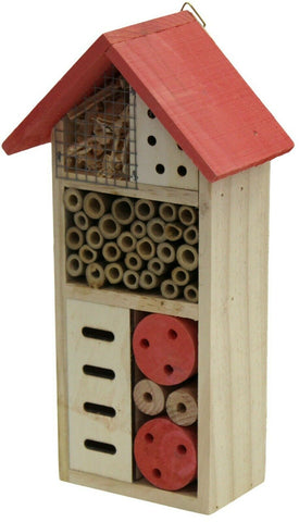 Wooden Insect Bee House Hotel Wood Roof Attract Insects & Bees To Garden Coral