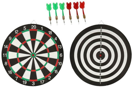 Large Double Sided Dartboard With 6 Darts 16Inch Dartboard Full Sized DartBoard