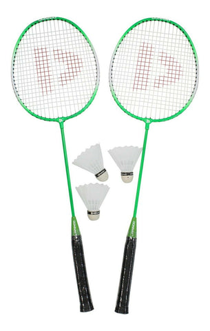 Donnay Green Badminton Set Of 2 Rackets & 3 Shuttlecocks With carry Case