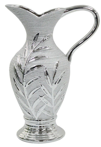 Large Ceramic Rippled Silver Jug For Flowers Juice Or Home Decor With Handle