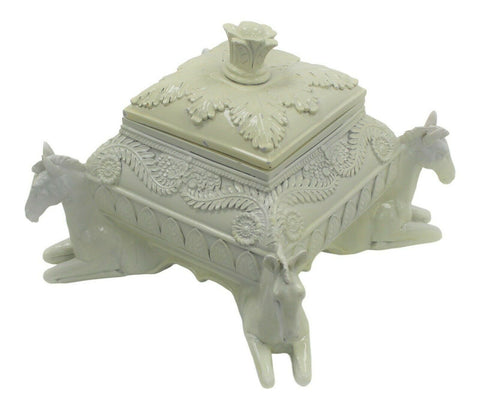 Cream Chest Box With Horses Polyresin Decorative Table Storage Ornament 18.5cm