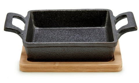 Cast Iron Pan With Bamboo Tray Trivet Square Frying Pan Serving Dish With Handle