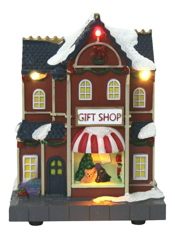 Lightup Christmas Ornament - Miniature Gift Shop Mini Festive Xmas Scene 12.5cm