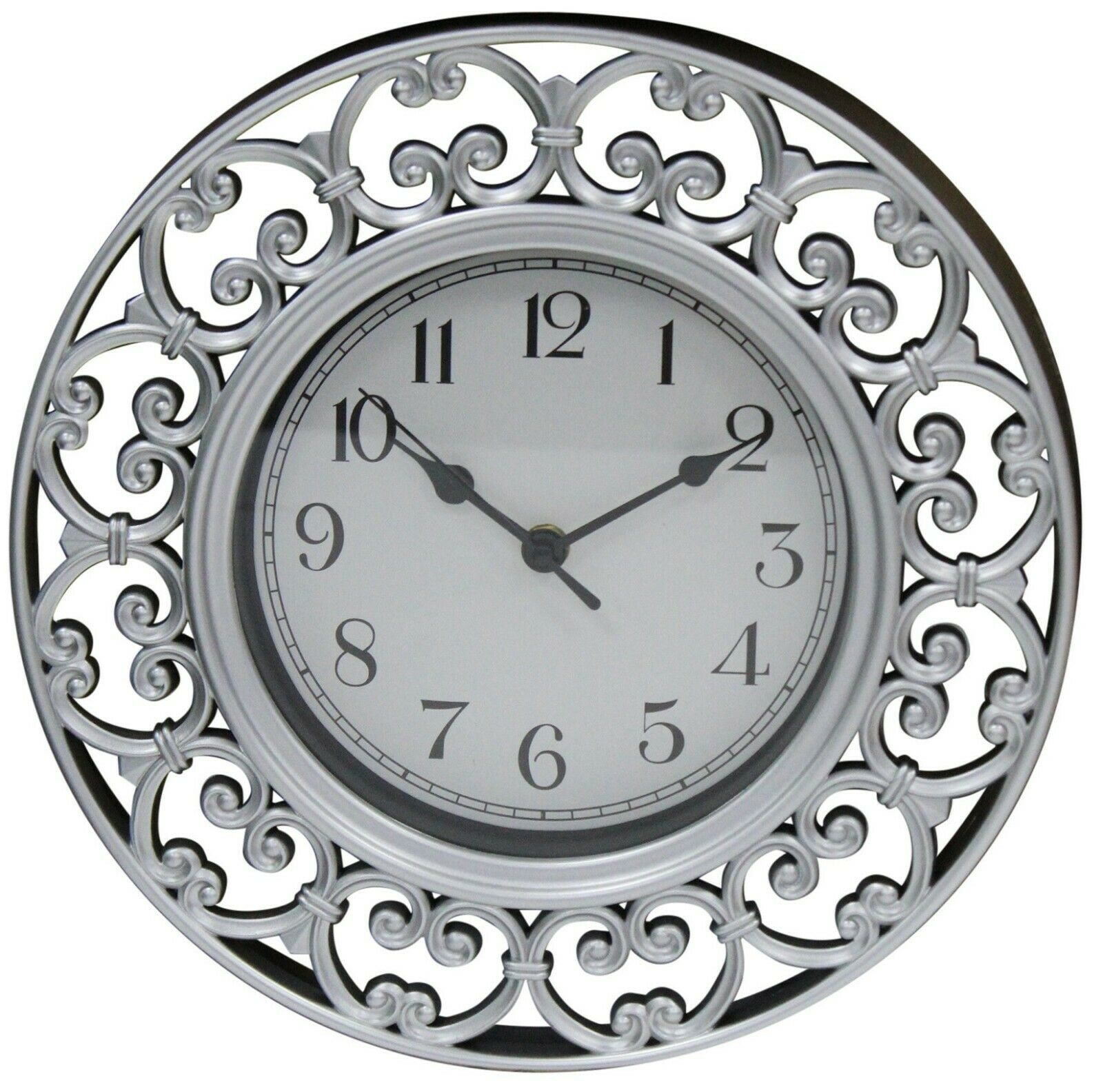 30cm Round Silver Wall Clock Antique Design Thick Frame