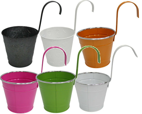 Metal Hanging Baskets Plant Pots 14cm In Bright Colour