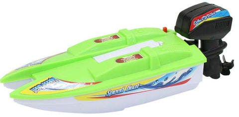 Toy Motor Boat Speed Boat Green 21cm Boat For The Bath Battery Operated