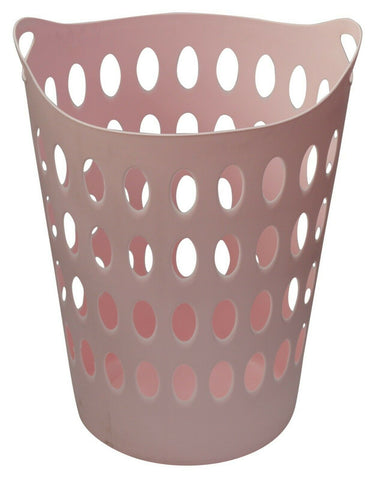 Large Tall Pink Laundry basket With Handles Light Weight & Strong With Handles