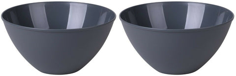 Set of 2 - 4.5 Litre Plastic Mixing Bowls Large Kitchen Salad Bowl Dark Grey