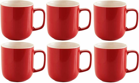 Price & Kensington Set Of 6 Large Bright Red Stoneware Coffee Mugs Coffee Cups