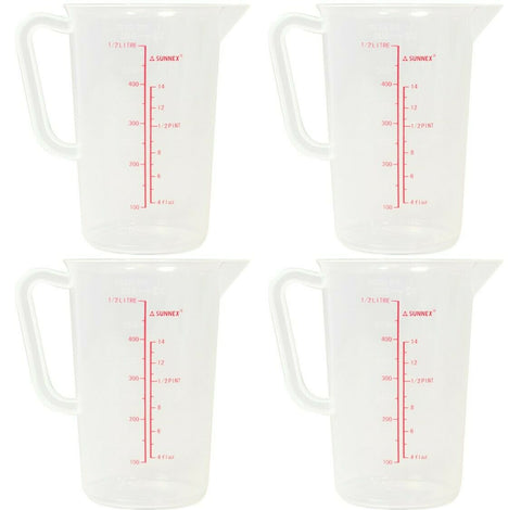 Set of 4 Small 500ml Clear Plastic Measuring Jug 1/2 Litre Jug With Measurements