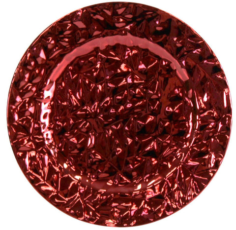 Set Of Red Charger Plates 33cm Under Plates Ruffled Shiny Christmas Red Plates