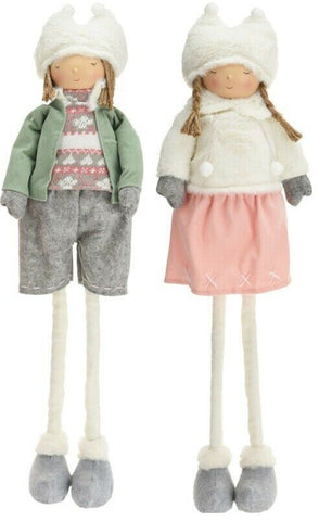 Cute Boy & Girl Doll Ornament With Extendable Legs Gift Freestanding Ornament