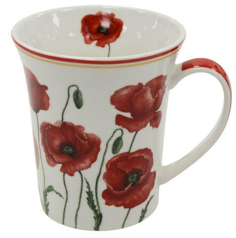 Set of 4 Leonardo Collection Poppy China Gift Boxed Floral Design Mug Set 300ml