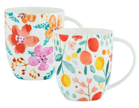 Set of 6 Jumbo Mugs Bone China Fruit & Floral Design Coffee Mug Assorted 450ml