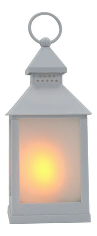 Modern Lantern LED Candle - White Plastic Realistic Flame Glow Outdoor Indoor