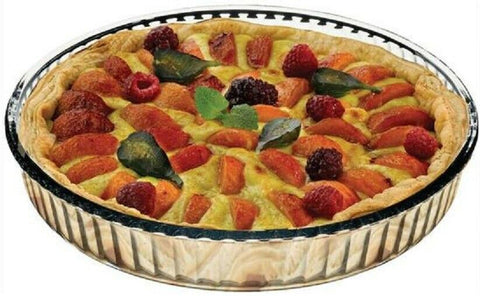 Borcam 32cm LARGE Round Deep Glass Pie Dish Oven Safe, Microwave, Freezer Safe