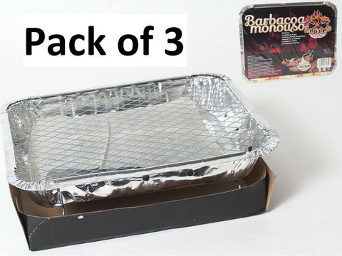 Bulk Pack of 3 Disposable BBQ 32cm x 23cm Instant Light Barbecues