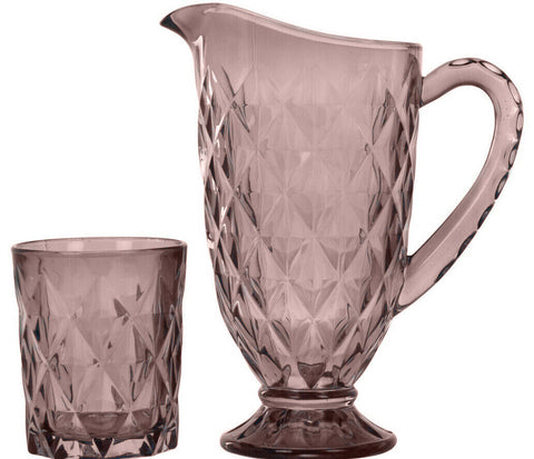 1 Litre Pink Glass Drinking Jug & 6 Matching Glass Tumblers Crystal Design