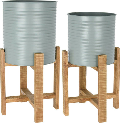 Set of 2 Raised Metal Planters On Stand Olive Green With Wooden Feet