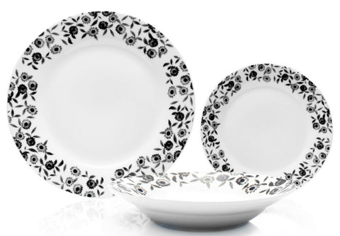 Sabichi Black & White Bramble 12 Piece Porcelain Dinner Set Floral Design
