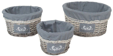 Set Of 3 Rattan Woven Willow Wicker Lined Baskets 36cm Large Round Hamper Set