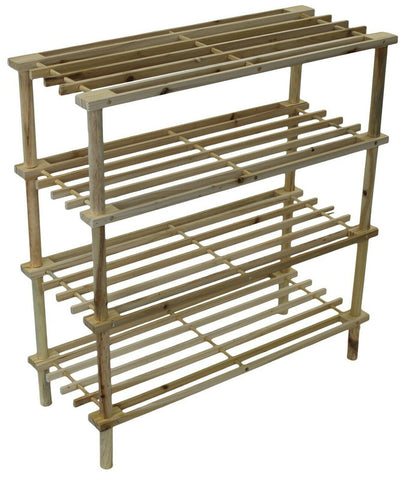 4 Tier Shoe Rack Large Wood Shoe Rack Four Levels Tier Holds 12 - 20 Pairs