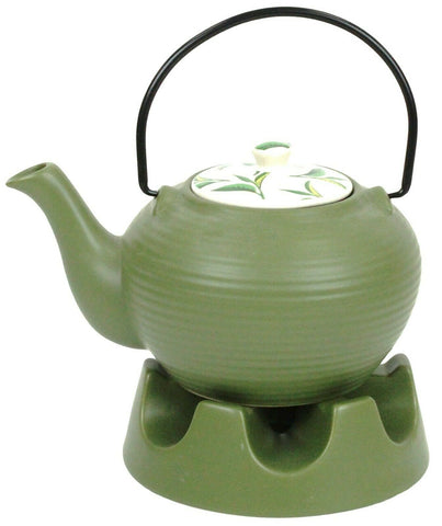 Japanese Teapot Green Stripes With Teapot Warmer Ceramic Jameson & Tailor 6 Cup