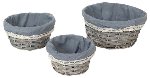 Set Of 3 Rattan Woven Wicker Lined Baskets 25cm Small Hamper Set