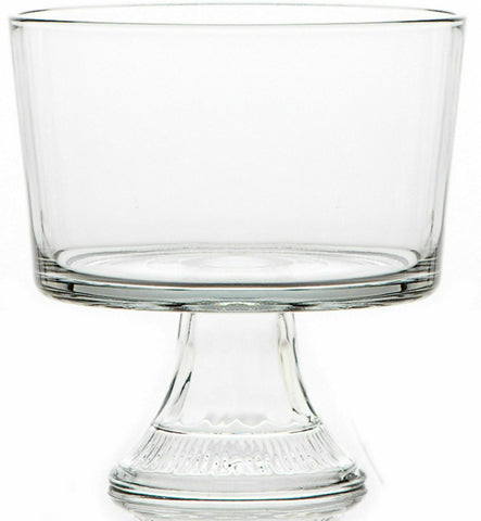 21cm Large Footed Trifle Dish - Clear Glass Desert Serving Bowl With Pedestal