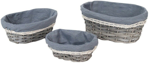 Set Of 3 Rattan Woven Wicker Lined Baskets 26cm Small Hamper Set Oval Shaped