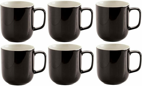 Price & Kensington Set Of 6 Black Large Stoneware Coffee Cups Hot Chocolate Mugs