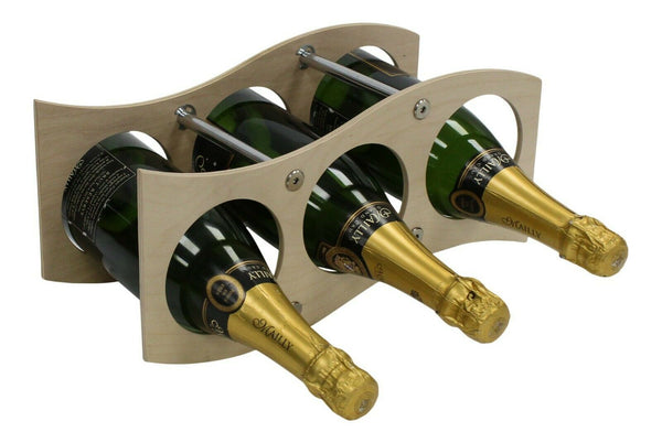 3 Bottle Wave Modular Wood WIne Rack