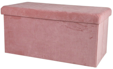 Ottoman Large Pouffe Storage Box & Seat up to 120kg Velvet Pink