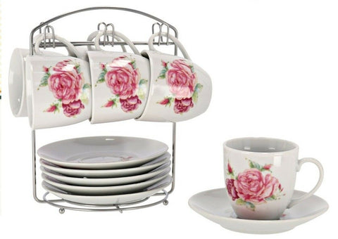 12 Piece Tea Mug & Plate Set With Stand Tree Rose Pink Floral Design Porcelain