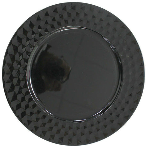 Set Of Black Charger Plates 33cm Under Plates Round Chargers Gloss Geometric