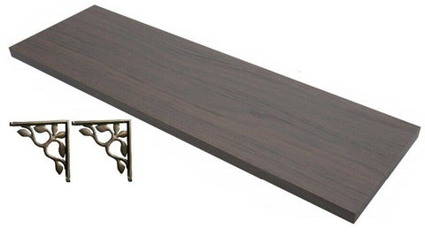 Large Anthracite Oak Shelf Length 60cm x 18cm Shelving & Bronze Wall Brackets