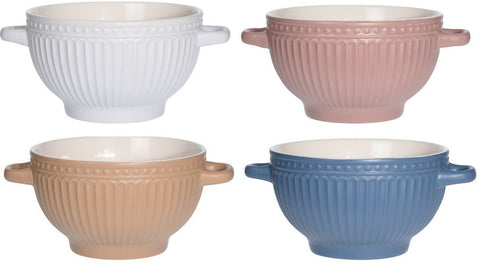 Set of 4 Rippled Stoneware Soup Bowls With Handles Bright Colours Soup Bowl Set