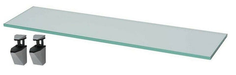 Frosted Glass Shelf Length 60cm Width 18cm Shelving & Chrome Wall Brackets