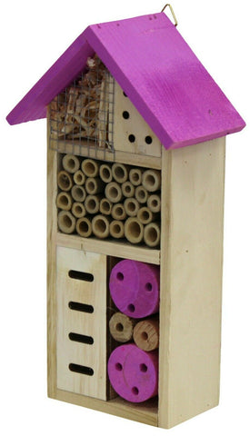 Wooden Insect Bee House Hotel Wood Roof Attract Insects & Bees To Garden Purple
