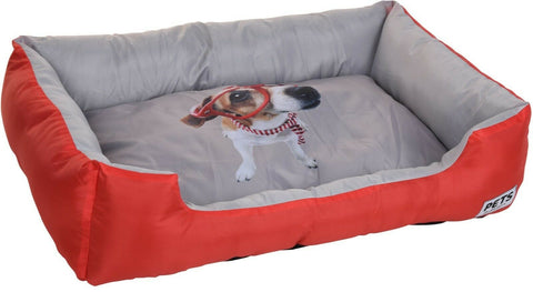 Large Dog Bed Pet Bed 78cm X 55cm X 18cm Rectangle Red Blue & Grey Fun Style