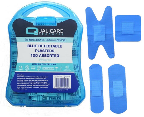 100 Assorted Latex Free Sterile Blue Plasters Washproof Metal Detectable Plaster