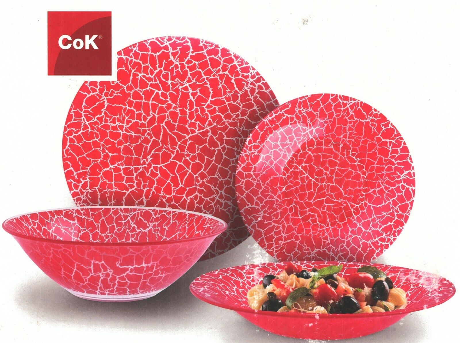 CoK 19 Piece Red Glass Dinner Set Made Tempered Glass With Crackle Design