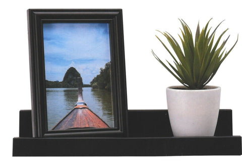 Black Floating Shelf With Matching Photo Frame Depth Display Shelves